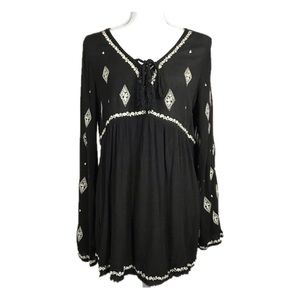 Maurices Black Boho Embroidered Blouse Size L